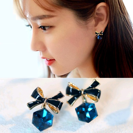 bowknot cube crystal simple earrings wholesale NHPF290048's discount tags