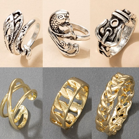 retro exaggerated animal snake-shaped goldfish ring NHGY290054's discount tags