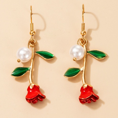 retro rose pearl earrings NHGY290056's discount tags