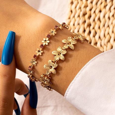 Fashion  new diamond flower bracelet 2-piece set NHGY290057's discount tags