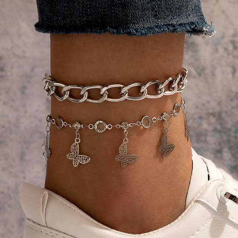 new  retro butterfly pendant anklet 2-piece set NHGY290060's discount tags