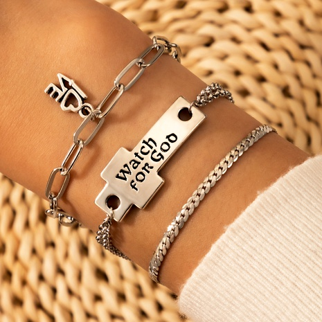 new  simple retro  love letter bracelet 3-piece set NHGY290061's discount tags