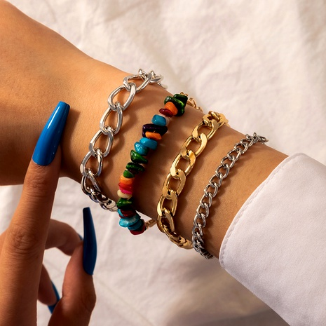 Multicolor Crushed Stone Thick Chain Geometric Boho Style 4 Piece Set Bracelet  NHGY290066's discount tags