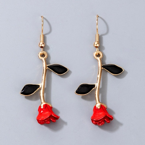 retro red rose alloy earrings NHGY290068's discount tags