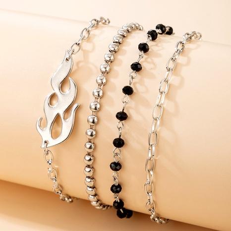 fashion trendy black rice bead flame shape bracelet 4-piece set NHGY290072's discount tags