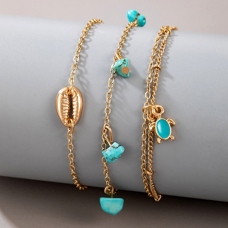 retro bohemian turquoise shell anklet 3-piece set NHGY290080's discount tags