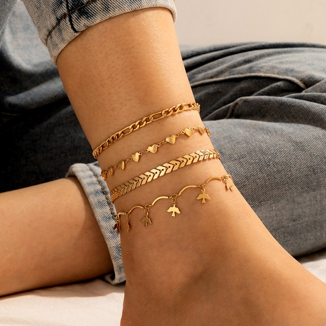 retro simple heart anklet 4 piece set NHGY290082's discount tags