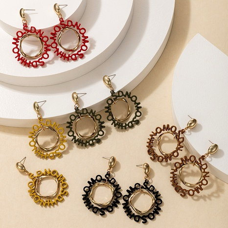 alloy rubber letter earrings  NHGY290397's discount tags
