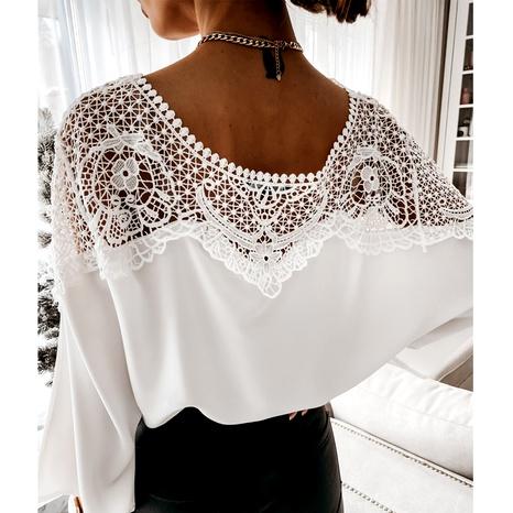 Fashion women's round neck lace blouse NHWA290485's discount tags