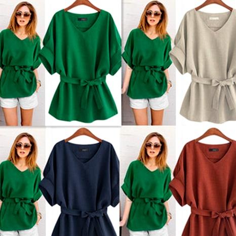 Bat sleeve plus size waist cotton and linen top NHEK290133's discount tags