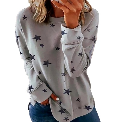 star print stitching plus size top NHIS290124's discount tags