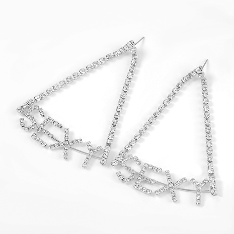 alloy diamond sexy letter earrings NHJE293631's discount tags
