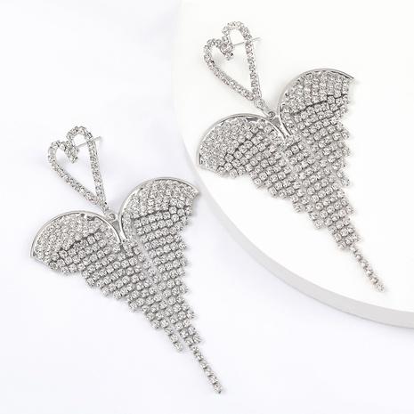 alloy diamond heart wing earrings NHJE293637's discount tags