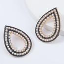 alloy diamondstudded imitation pearl dropshaped earrings NHJE293643