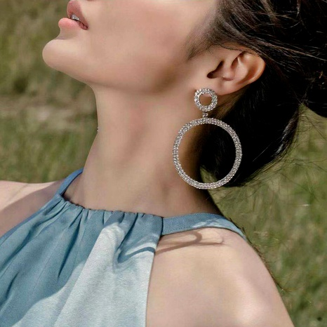 alloy diamond fashion big circle earrings NHJE293651's discount tags