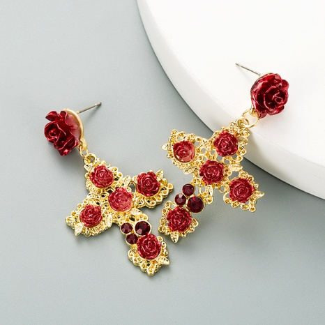 S925 silver needle retro cross alloy inlaid rhinestone rose earrings  NHLN293664's discount tags