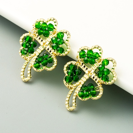 grüne kristallblumenförmige Ohrringe NHLN293670's discount tags