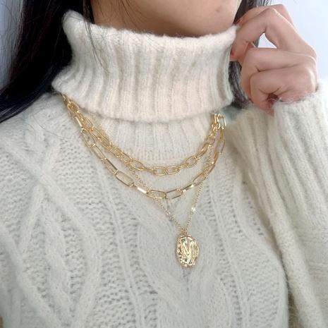 collier en métal multicouche avec pendentif lettre de mode NHJQ293673's discount tags
