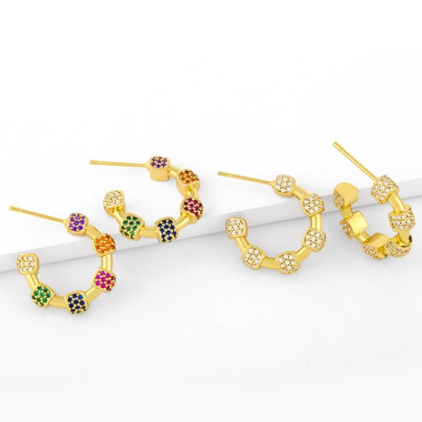 retro color micro-inlaid zircon earrings NHAS293690's discount tags