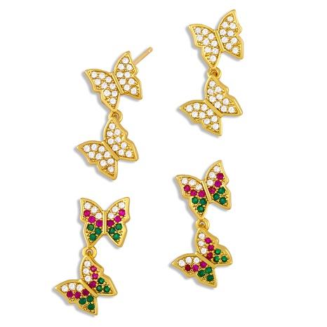 New trendy Korean zircon butterfly earrings NHAS293691's discount tags