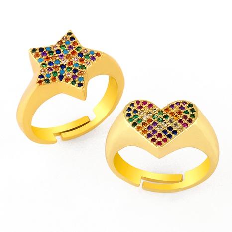 Anillo de amor de circonita de color con incrustaciones simples creativas NHAS293704's discount tags