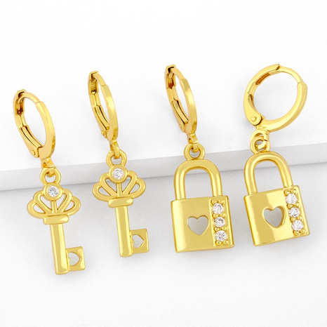 fashion love key lock exaggerated personality earrings NHAS293706's discount tags