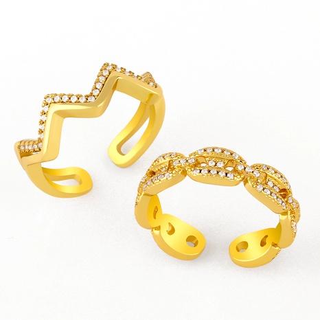fashion chain simple diamond geometric open ring NHAS293710's discount tags