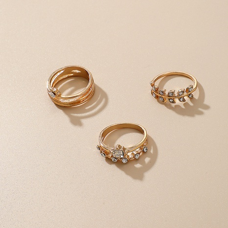 nouvel ensemble de 3 bagues en forme de feuille de diamant NHGY293731's discount tags