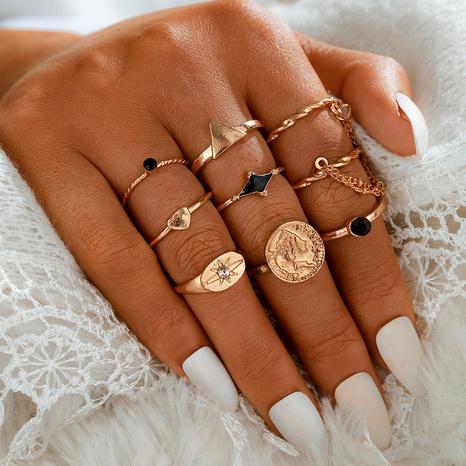 nuevo conjunto de anillos de corazón de amor goteando negro creativo de todo fósforo de moda NHGY293733's discount tags