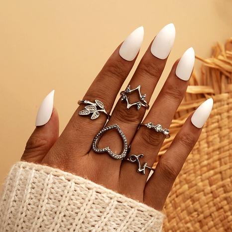 Ensemble de 5 pièces de bague en diamant étoile en alliage rétro simple créative NHGY293739's discount tags