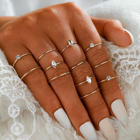 Conjunto de anillos geométricos simples con incrustaciones de diamantes de Corea NHGY293744's discount tags