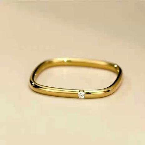 bague en acier titane carré petit diamant solitaire carré doré NHAB293752's discount tags