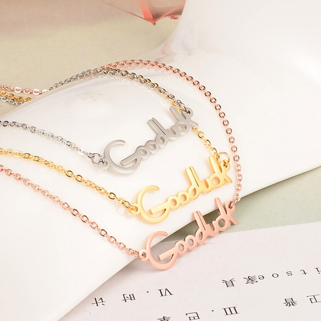 fashion titanium steel rose gold letter necklace  NHAB293809's discount tags