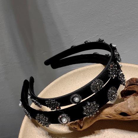 Diadema de copo de nieve de perlas de diamantes checos de diamantes de terciopelo coreano NHAR293926's discount tags