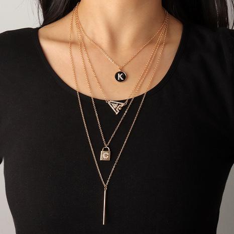 collier multicouche à lettre en métal à la mode NHNZ294059's discount tags