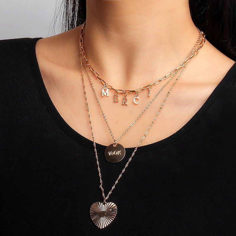 fashion heart pendant letter necklace NHNZ294063