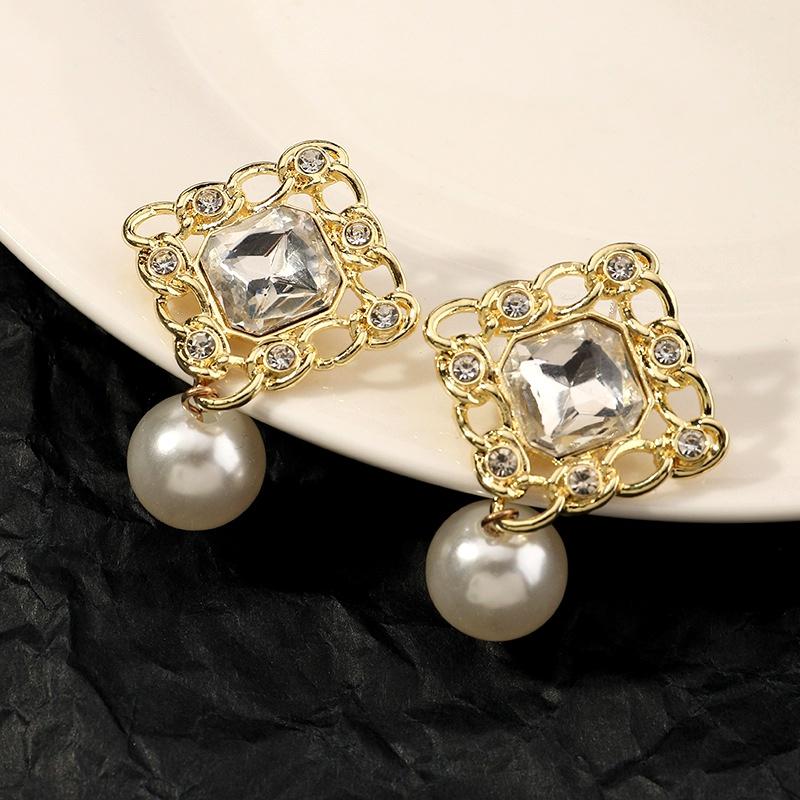 fashion diamond pearl earrings NHNZ294066