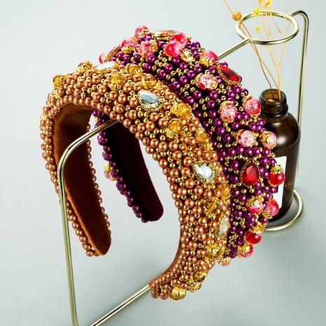nueva banda de pelo de terciopelo con diamantes de perlas NHLN294115's discount tags