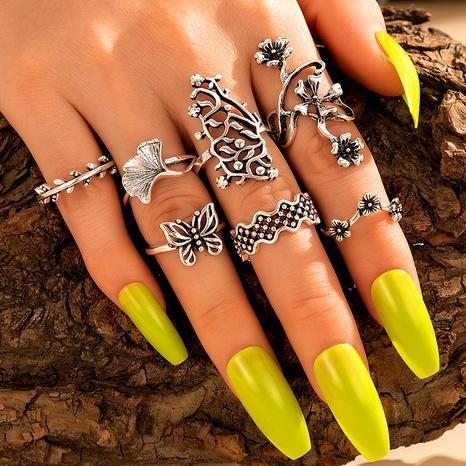 anillo de junta de mariposa de flor hueca de aleación retro de moda creativa anillo de 7 piezas NHGY294629's discount tags