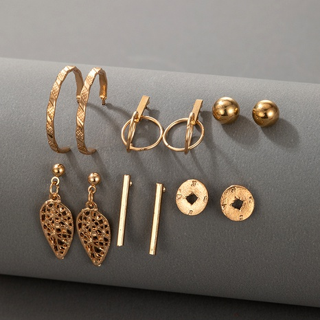 hot selling leaf creative retro hollow geometric long earrings 6 pairs of set NHGY294628's discount tags