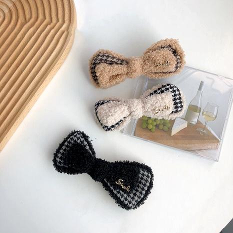 Korean lamb hair bow hairpin NHSM293622's discount tags
