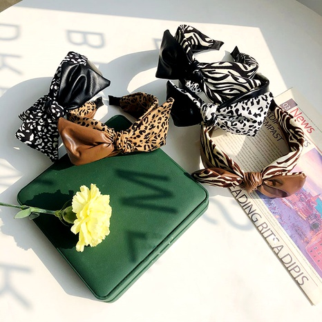 leopard bow pu leather stitching headband NHSM293626's discount tags