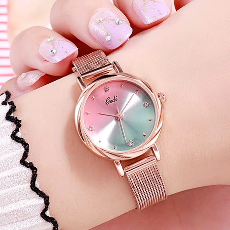fashion mesh belt waterproof quartz watch NHSR294141's discount tags