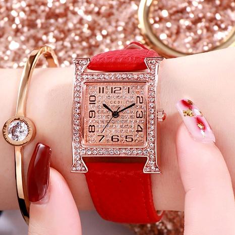 diamond-studded square retro quartz watch  NHSR294145's discount tags