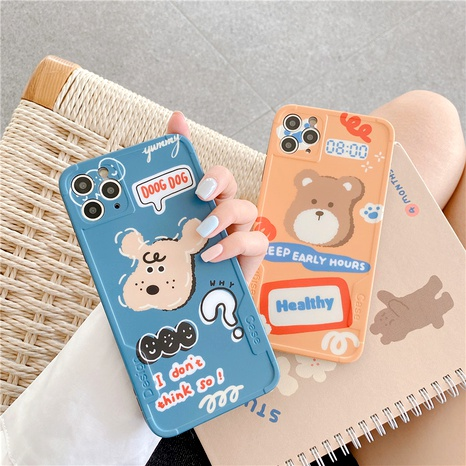 Cute cartoon bear puppy iPhone11Pro mobile phone case for Apple XSE2XSMAX all-inclusive soft  NHFI294286's discount tags