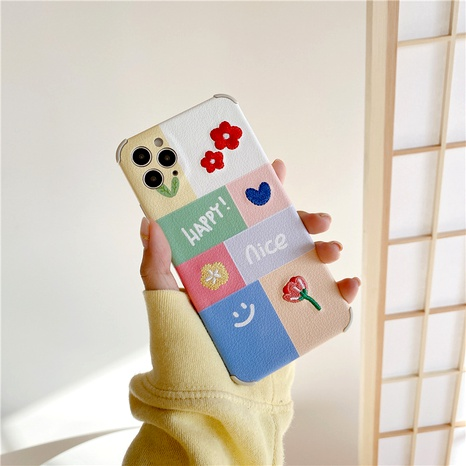 embroidery palace grid flower smiley face 12mini11pro mobile phone case for Apple se2XRXS8p NHFI294391's discount tags
