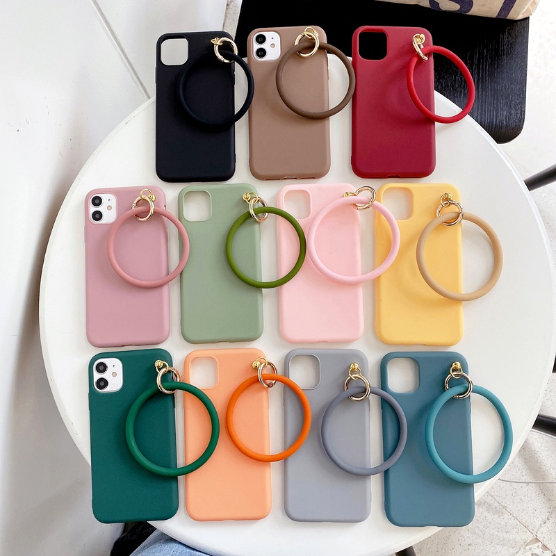 bracelet is suitable for mobile phone case Samsung S20FE mobile phone case A90 thickened S20 solid color M20 matte  NHKI294398