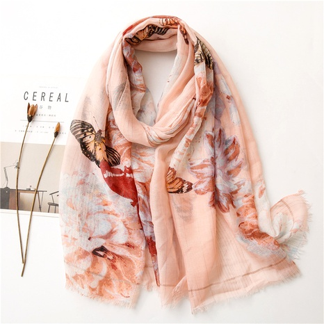 butterfly gold thread cotton linen scarf  NHGD294399's discount tags