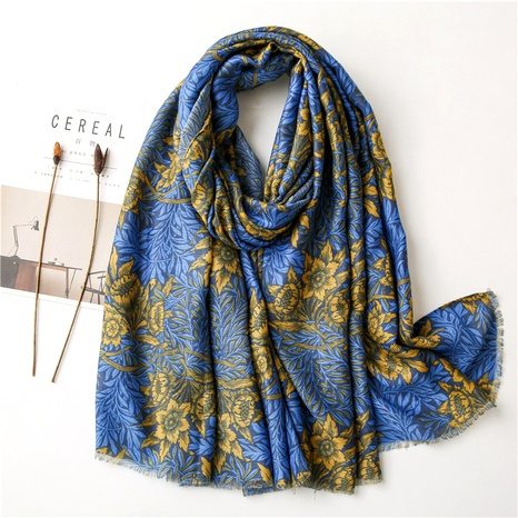 blue and yellow flower hit color cotton and linen scarf NHGD294404's discount tags