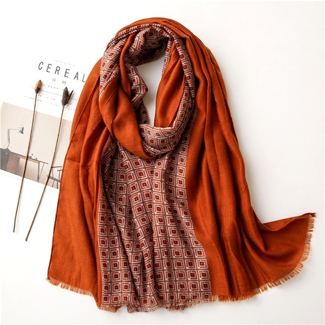 rust red cotton and linen scarf NHGD294407's discount tags